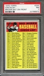 1970 TOPPS 244 CHECKLIST BROWN BAT ON FRONT PSA NM 7