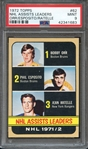 1972 TOPPS 62 NHL ASSISTS LEADERS ORR/ESPOSITO/RATELLE PSA MINT 9