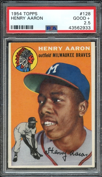 1954 TOPPS 128 HENRY AARON RC PSA GOOD+ 2.5