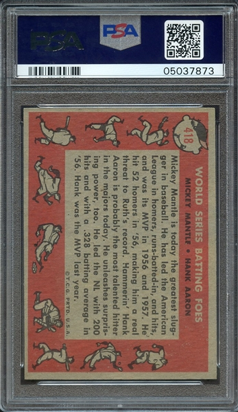 1958 TOPPS 418 M.MANTLE/H.AARON W.S. BATTING FOES PSA NM-MT 8