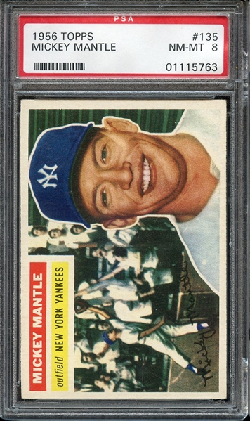 1956 TOPPS 135 MICKEY MANTLE GRAY BACK PSA NM-MT 8