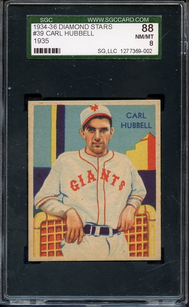 1934-36 DIAMOND STARS 39 CARL HUBBELL SGC NM/MT 88 / 8
