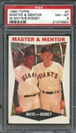 1960 TOPPS 7 MASTER & MENTOR W.MAYS/B.RIGNEY PSA NM-MT 8