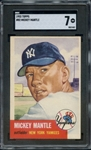 1953 TOPPS 82 MICKEY MANTLE SGC NM 7