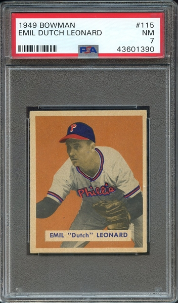 1949 BOWMAN 115 EMIL DUTCH LEONARD PSA NM 7