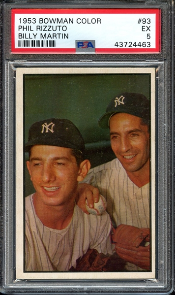 1953 BOWMAN COLOR 93 PHIL RIZZUTO BILLY MARTIN PSA EX 5